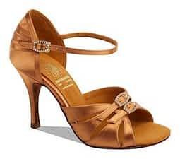 salsa dancing shoes womens Dark Tan Satin Style 1057 By Supadance