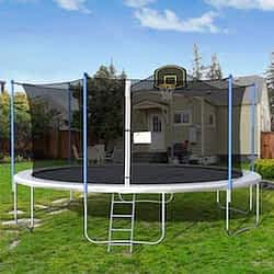 Merax Silver 16ft trampoline with basketball hoop