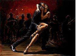 Tango in red painting