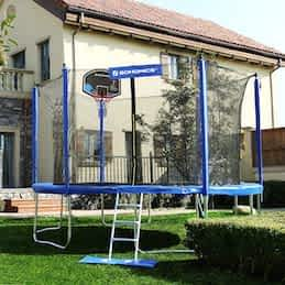 trampoline basketball goals Songmics Trampoline With Enclosure