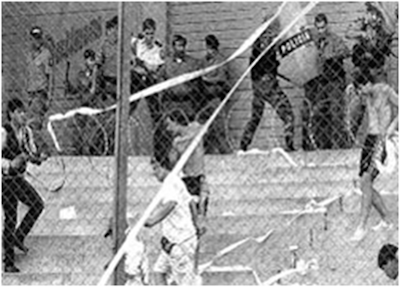 Military and fans during 1969 World Cup Qualifying match between El Salvador and Honduras